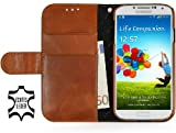 StilGut Talis Schutz-Hülle für Samsung Galaxy S4 i9500 mit Kreditkarten-Fächern aus echtem Leder in Cognac