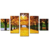 #7: MagiDeal 1 Set of 5PCS Canvas Modern Home Bedroom Office Wall Decor Wall Art Painting Picture Gold Trees Print Pattern Charms