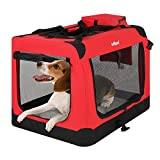 Leopet Faltbare Hundetransportbox Inklusive Polster Transportbox für Haustiere Hundebox Autobox für Hunde, Katzen und Kleintiere Farbe Rot, Größe L