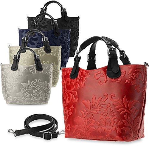 einzigartige elegante Damentasche 100% Naturleder Shopperbag (grau) schwarz