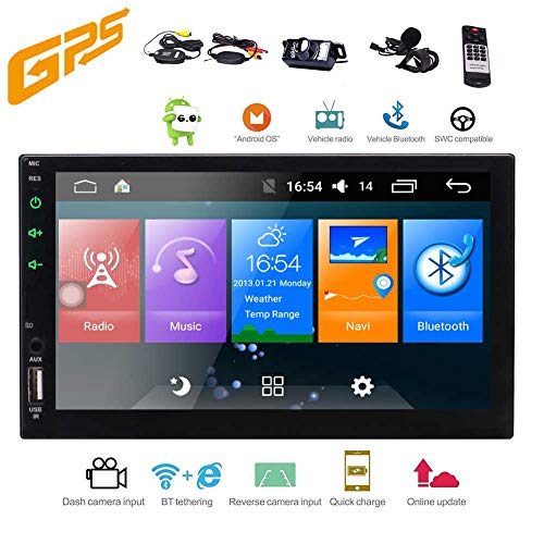 EINCAR Android Car Stereo 7 Zoll 2 Din Head Unit GPS NAV Flash-Audio Radio HD Video Player 5 Punkt-Multi-Touch-Built in Wi-Fi Bluetooth AUX AM/FM/RDS (ohne DVD-Player) + Free Wireless Backup-