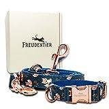 Freudentier Hundehalsband & Hundeleine (2m) für kleine und große Hunde - Aus unverwüstbarem Nylon - 2 Meter Hundeleinen