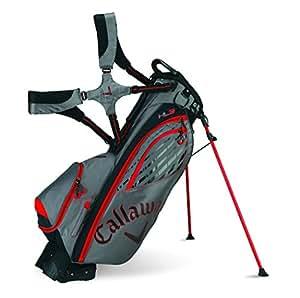 2015 Callaway Hyperlite 3 Stand Bag Mens Golf Carry Bag 4-Way Divider Charcoal/Black/Red