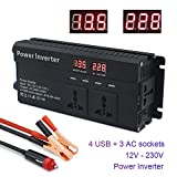 LVYUAN 800W/2000W Peak Power Inverter DC 12V to 230V 240V AC Car Converter