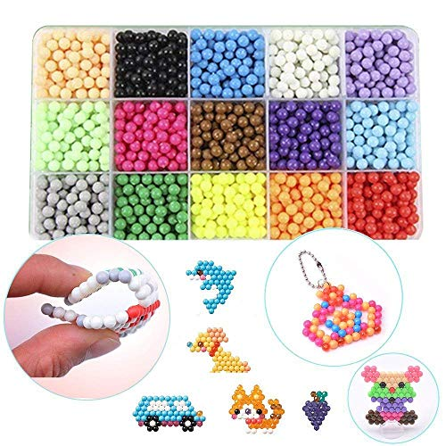 Puzzle Handmade Toy Water Fuse Beads Magic Sticky Beads with Complete Matching Tools,DIY Crafts Toys for Kids (24color)