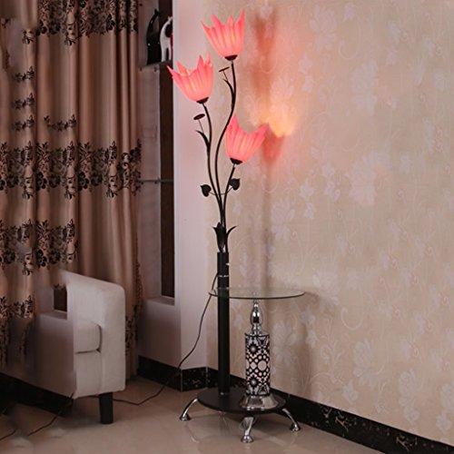 MMM- Eisen Couchtisch Stehleuchten Moderne chinesische Minimalist Mode Stehlampe mit Teetisch Vertikale Beleuchtung ( Farbe : Pink )