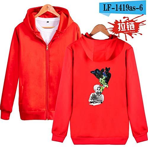 Kostüm Geburt Weisen Männer - jiuyaomai Sweatshirt Herbst und Winter Einstein Print Reißverschluss Kapuzenpullover Männer rot L