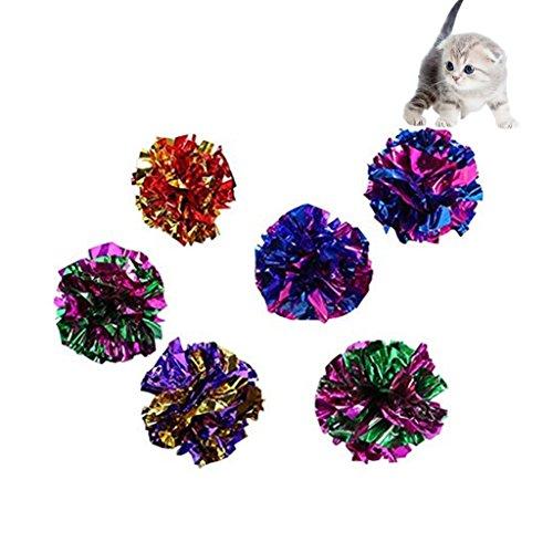 Namgiy 10x Crinkle Balls Crackle Folie Balls Cat Toy Sound Crinkle Balls Kätzchen Sound Spielzeug Sound ball zufällige Farbe