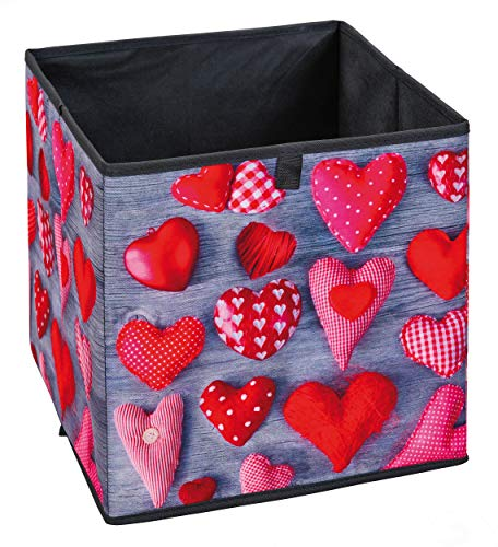 H24living Faltbox Aufbewahrungsbox Faltbar Faltkiste mit Fingerloch Regalbox Regalkorb Korb Stoffbox Spielkiste Raumteiler Regale 32x32x31cm Herz