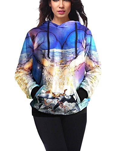 Femme Coloré 3D Imprimé Drawstring Graphic Pullover Hoodies Sweatshirts Style 1