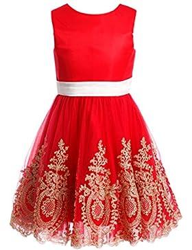 FAIRY COUPLE Mädchen Goldspitze Applizierte Kurz Blumenmädchen Kleid K0177