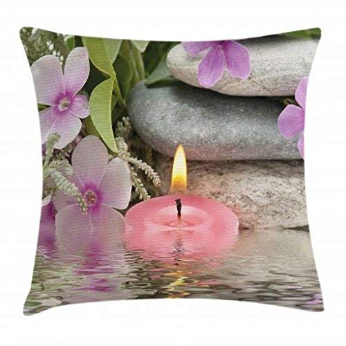 Nizefuture Spa Decor Throw Pillow Cushion Cover by, Heaven on Earth Peaceful Theme Violets Candle on a Water and Stones, Decorative Square Accent Pillow Case, 18 X 18 Inches, Purple Grey and Green (Green Ninjago Namen)