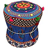 Rang Barse Rohi Rajasthani Handmade Patchwork Cotton Single Mudda/Ottoman/Pouffe (Bamboo, Multicolour,17 X 17 X 18 Inches)