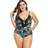 Langstar Rüschenbesatz Plus Size Rüschen Trim Leaf Print Bademode Einteiler Badeanzug mit Schlüsselloch-Ausschnitt Bikinis Bikini Set