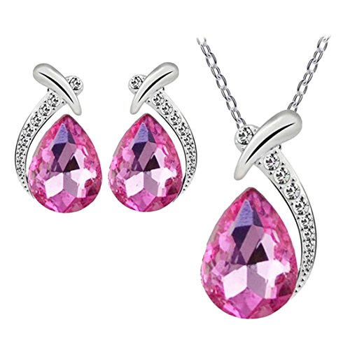 new-style-women-crystal-pendant-silver-plated-chain-necklace-stud-earring-jewelry-set-lanspo-hot-pin