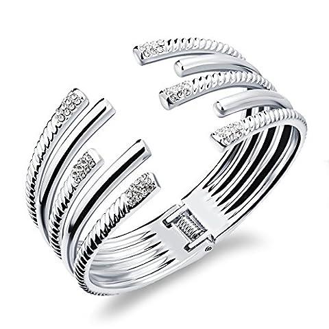 LZHMWoman Fashion Stainless Steel Plated 18K Gold Zircon Inlay Open Bracelet,Silver