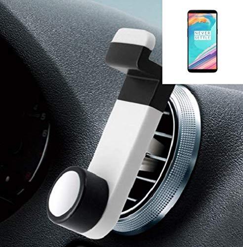 K-S-Trade® Smartphone Halterung Autohalterung Für -OnePlus 5T- Lüftungshalterung Handy Halter Lüftungsgitter Smartphonehalterung Weiß