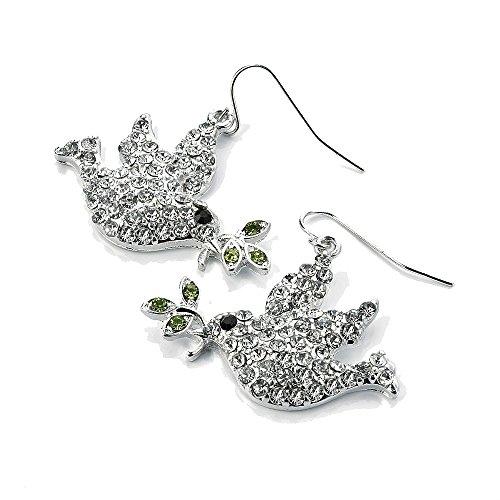 mit Kristall besetzt Lovely versilbert Taube Vogel Kostüm Schmuck Haken Ohrringe (Taube Kostüme)