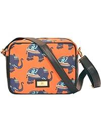 Hammer Coal PU Foam & Canvas Block Printed Sling Bag/ Cross Body Bag For Girls - B073WB77HL