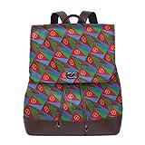 Flyup Eritrea Flag 3D Art Pattern Women Backpack Purse Waterproof Leather Anti-theft Schoolbag Lightweight Rucksack Zaino in pelle da donna