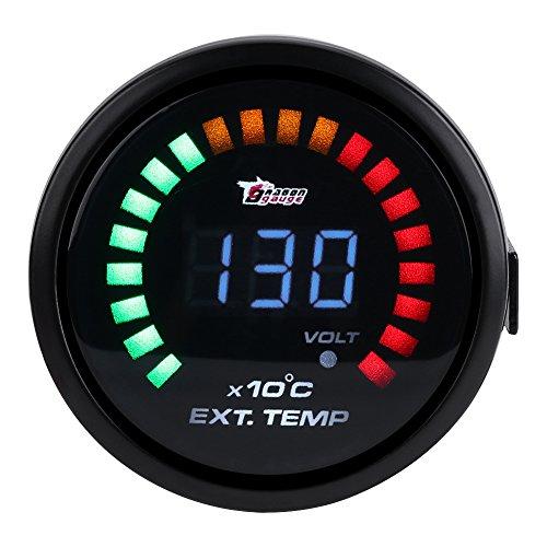 Qiilu 52mm 2inch Auto LED Digital Abgastemperatur Temperaturanzeige mit Sensor