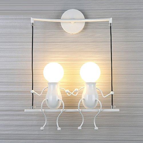 Kreativ Leuchtmittel Dekoration Kinder,Moderne Schöne Minimalismus Indoor 110-120v E27 Birne sockel Wand lampen Kopfteil Wandleuchte-Weiß