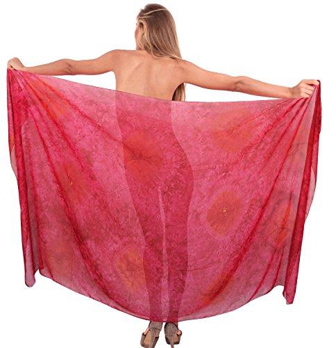 Chiffon Tie Dye (La Leela leichte Badebekleidung Sarong tie dye Bikini Chiffon Strand 78x39inch rosa)