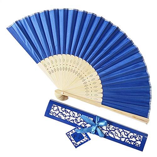 Andouy Retro Faltfächer/Handfächer/Papierfächer/Federfächer/Sandelholz Fan/Bambusfächer für Hochzeit, Party, Tanzen(21cm.Dunkelblau-B) -