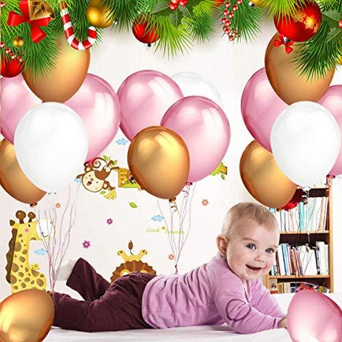 Luftballon (105 stücke) - 12 Inch | 30,5cm Latex Balloons - 34 Gold, 34 Rosa, 34 Perlweiße Ballon mit 3 Goldfolien Herz-Ballons für Kindergeburtstag, Hochzeit, Abschluss, Party Dekoration Set