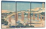 Printed Paintings Stampa su Tela 3 Parti(120x80cm): Katsushika Hokusai - Ponte Yahagi a Okazaki s