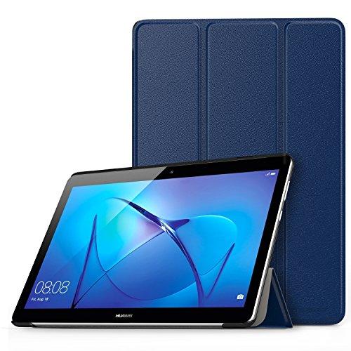 MoKo Huawei MediaPad T3 10 Hülle - Ultra Lightweight Slim PU Leder Tasche Schutzhülle Schale Smart Shell Case Cover mit Standfunktion für Huawei MediaPad T3 10 24,3 cm (9.6 Zoll) Tablet, Marineblau 10 Slim Tasche Case