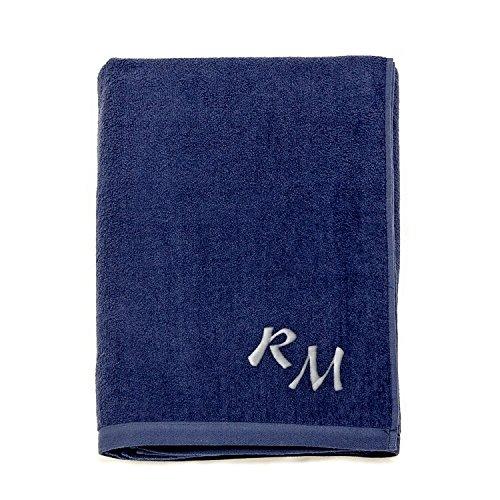 Asciugamano da spiaggia grande, 100% cotone, con monogramma ricamato (personalizzabile),...