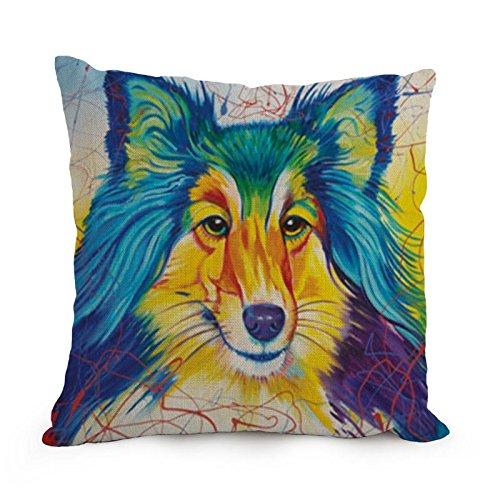 loveloveu der Hund Art Kissen Fällen von 45,7x 45,7cm/45von 45cm Dekoration Geschenk für Erwachsene Kaffee House Wohnzimmer Pub Stuhl Shop (je Seite) (Button-dunkle T-shirt)