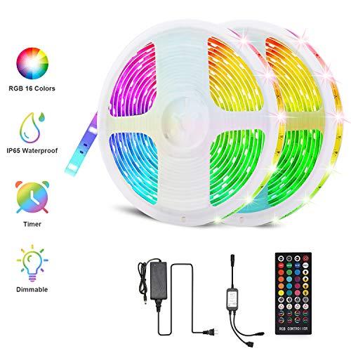FYLINA LED Streifen 10M,LED Stripes LED Bänder Musik IP65 Wasserdicht Flexibles LED Lichtband RGB 5050 300 mit 40 key Fernbedienung,und Controller für Zuhause, Dekoration für Küche,Party und ganzes