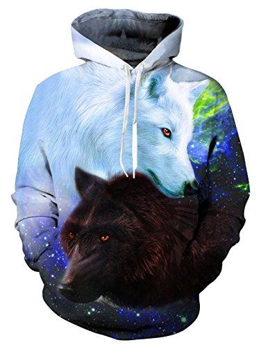 AIDEAONE Männer Lustige 3D Wolf Print Paar Hoodies Langarm Sweatshirts Hooded Pullover Jumper