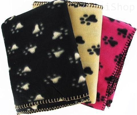 Grande couverture pour animal domestique Motif empreintes de pattes Lit pour chien et chat en polaire