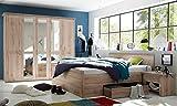 trend-moebel Komplett Schlafzimmer Doppelbett Bett Nakos Kleiderschrank Luca Eiche Sanremo-hell Landhaus