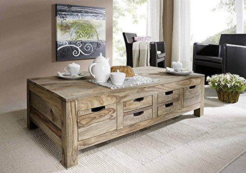 MASSIVMOEBEL24.DE Palisander Holz massiv Couchtisch 135x70 Sheesham Massivmöbel Nature Grey #43