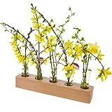 Rasch-Design Blumenvase aus Holz und Reagenzglas als Vase   Massivholz Buche, Eiche, Kirsche oder Nussbaum (Buche)