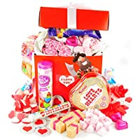 I Love You Retro Sweet Hamper - Beautiful Red Gift Box With White Ribbon And Free Gift Tag By Treasure Island Sweets