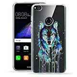 Caler Huawei P8 Lite 2017 Coque, Silicone Clear Transparente Ultra Mince P8 Lite 2017 Housse Souple Anti Choc Etui Protection TPU Animaux Motif Coque Huawei P8 Lite (2017) 5.2 (Loup)