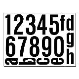 Hausnummern Aufkleber Folien Set Nummern und Buchstaben zum Aufkleben (reflektierend oder matt) (schwarz-matt)