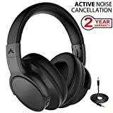 Avantree [Upgraded] Active Noise Cancelling Wireless Headphones Airplane Travel Mowing, Bluetooth Wired ANC