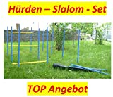 AGILITY-ÜBUNGS-HÜRDEN/SLALOM-STANGEN-SET IN BLAU/GELB MIT TRAGETASCHE