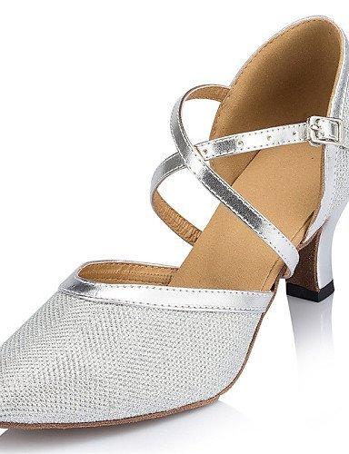 ShangYi Chaussures de danse ( Jaune / Argent ) - Non Personnalisables - Talon Bottier - Cuir / Similicuir / Paillette Brillante -Latine / Jazz / champagne