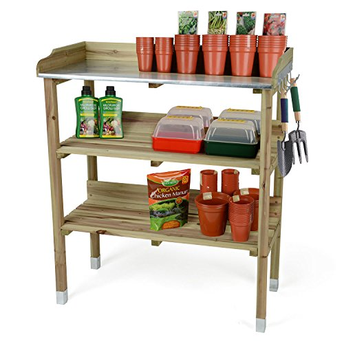 Christow Wooden Potting Table Flower Plant Work Bench Garden Greenhouse Staging