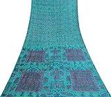 Vintage Indian reine Seide Blau Sari mit Blumenmuster
