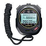 Vanpower Reloj Cronómetro Digital de Mano cronógrafo Deportivo Temporizador de Entrenamiento Cronómetro, Color Black/100 Tracks