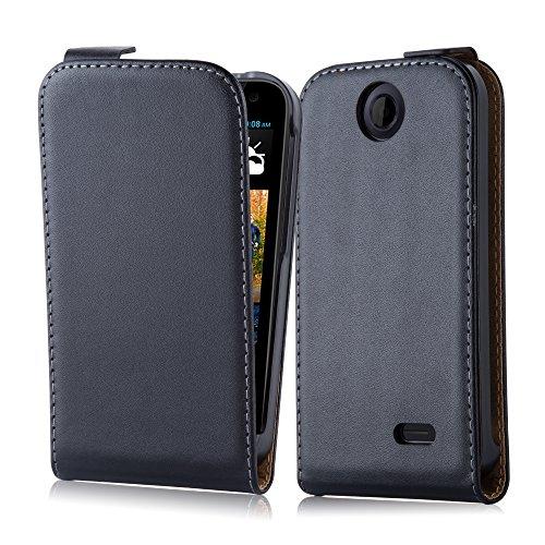 Cadorabo Coque pour HTC Desire 310, Noir DE Jais Design Flip Fermoire Magnétique Housse de Protection Etui Case Cover pour HTC Desire 310 - Ouverture Verticale