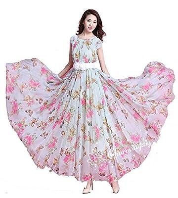 ELENORA FASHION Women's Georgette Dress (BUTTERFLY 1_Pink_Free Size)